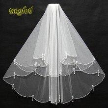 Свадебные вуали белого цвета слоновой кости, 2 слоя, короткие свадебные вуали с гребешком, женские свадебные аксессуары, новинка