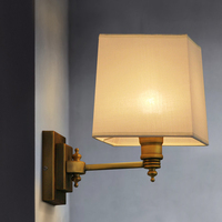 Willlustr beige cloth light Europe bronze lighting fixture bedside CLARIDGE DOUBLE SCONCE WITH LINEN SHADE fabric wall lamp