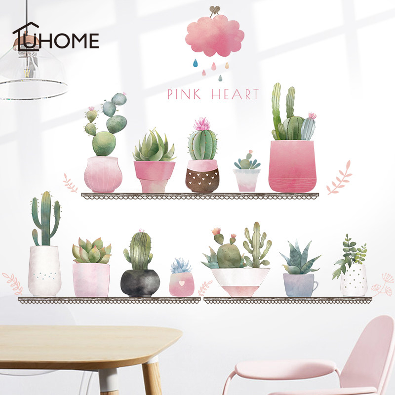 US $8.9 30% OFF|Nordic Style Leaves Cactus Pink Clouds Creative Wall  Stickers for Girls Bedroom Wall Decoration Wallpaper Self adhesive-in Wall  ...
