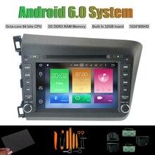 Android 6.0 octa-core reproductor de DVD del coche para Honda Civic 2012 nuevo coche Radios RDS WiFi 2G ram 32 GB flash iNAND