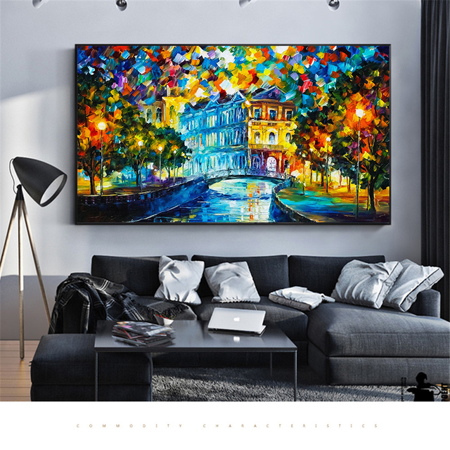 11b23ba5c38 Abstract Wall Art Canvas Oil Painting Rainy Night Scene Landscape Posters  And Prints Pictures For