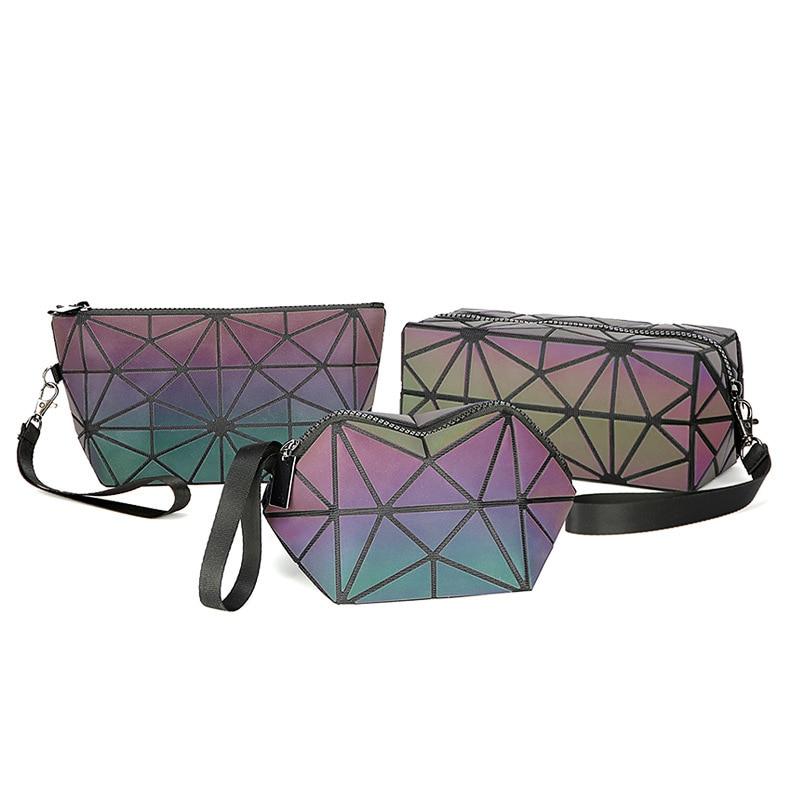 New Zipper Cosmetic Bag Women Luminous Makeup Bag Geometric Women's Cosmetics Organizer Folding Travel Make Up Bag