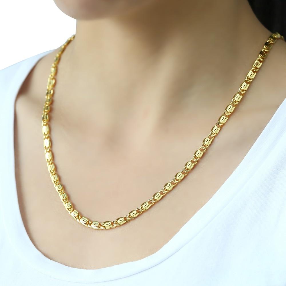 Trendsmax 4.5mm Kolye Kadınlar Kız 585 Için Gül Altın Link - Kostüm mücevherat - Fotoğraf 6