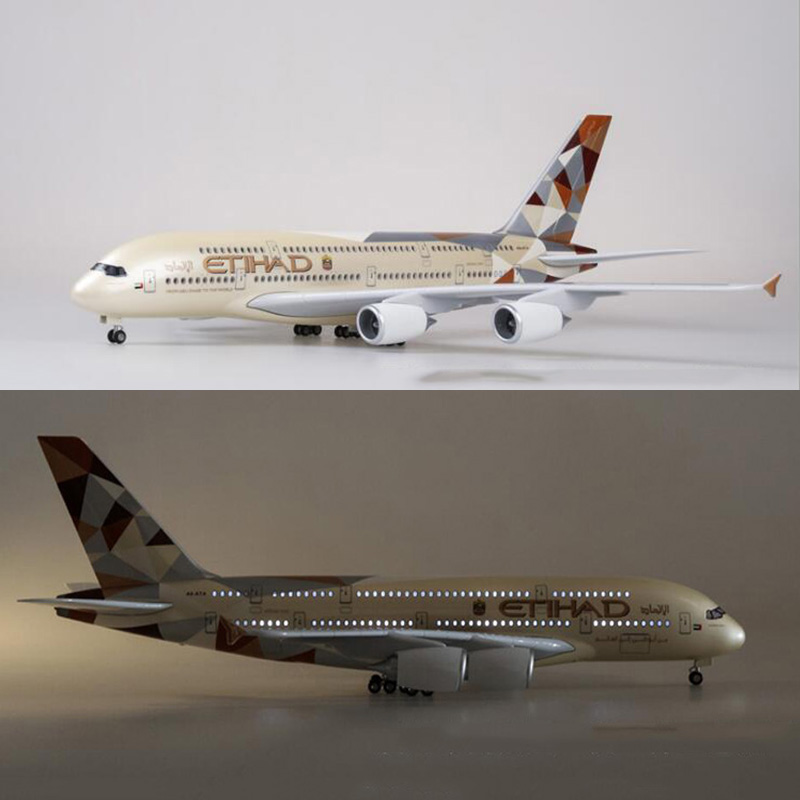 50 5CM 1 160 Scale Airplane Airbus A380 ETIHAD Airline Model W Light Wheels Diecast Plastic