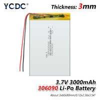 306090 3000 mah 3.7 V batterie au lithium batterie Rechargeable au lithium polymère pour casque Bluetooth MP3 MP4 MP5 GPS PSP MID