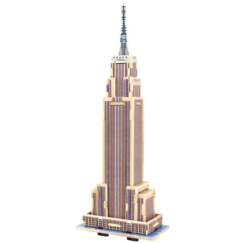 Kolmiulotteiset puiset palapelit Kuutiometsäiset puiset palapelit Maailman rakennuspalikat Rakentaminen Lasten koulutuslelut Lahja Empire State Building