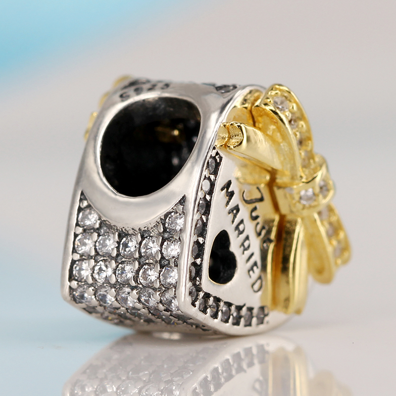 Authentic 925 Sterling Silver Bound By Love Just Married Charm Beads Fit Pandora Original Bracelet Luxury DIY Jewelry Making