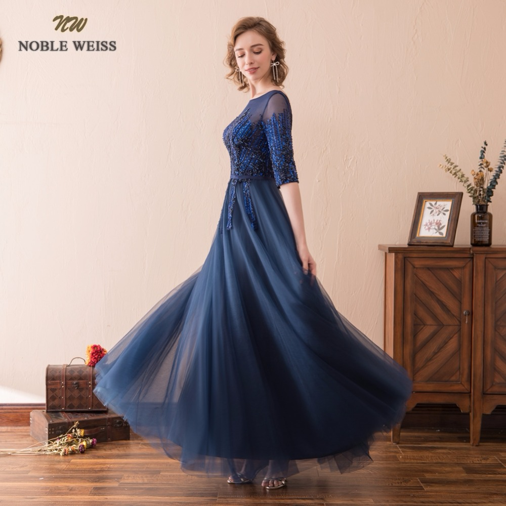 NOBLE WEISS Sexy A-Line Evening Dresses Sequined Beading Tulle Prom Gown Robe de Soiree 2019 Formal Special Occasion Gowns