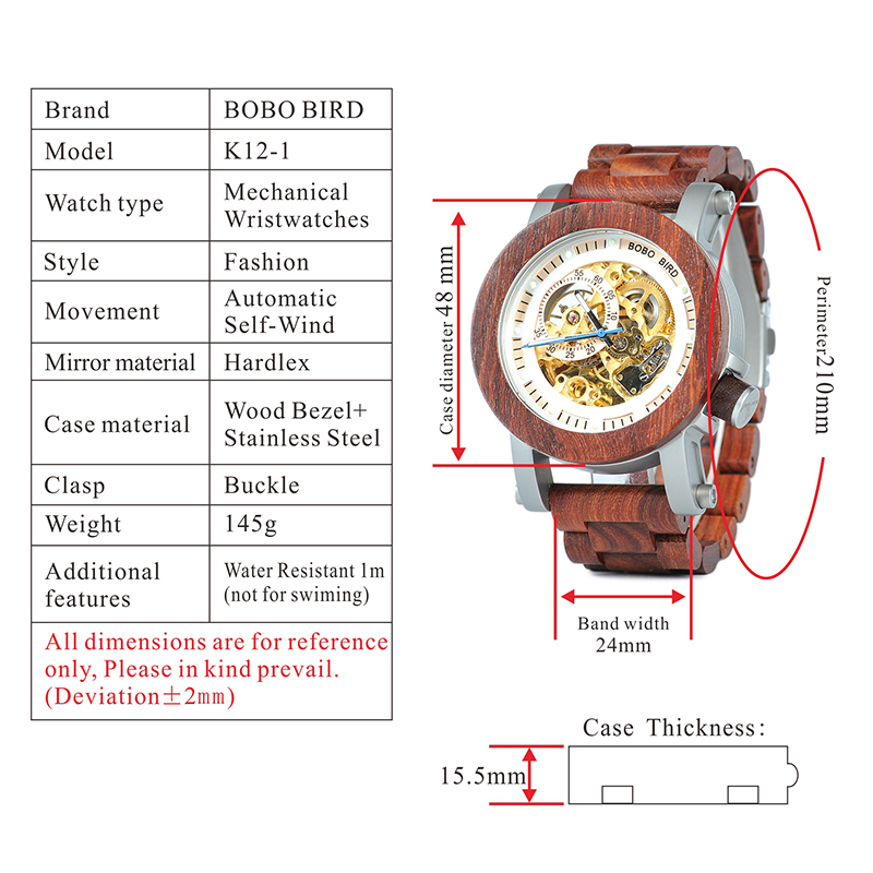 BOBO BIRD  Men Automatic Mechanical  Wood Wristwatch 7