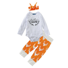 newborn baby boys and baby girls clothing set 3pcs letter rompers+deer pants+bow headband 2017 new christmas baby clothing sets