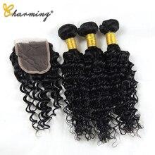 CHARMING Hair Deep Wave Human Bundles With Closure 4 pcs/lot Brazilian Weave Extension