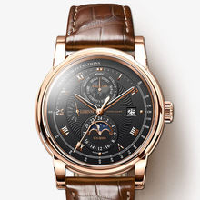 цена LOBINNI Men Fshion 50M Waterproof Business Automatic Mechanical Wrist Watch With World Time Week Date Sun Night Dial - Rosegold онлайн в 2017 году