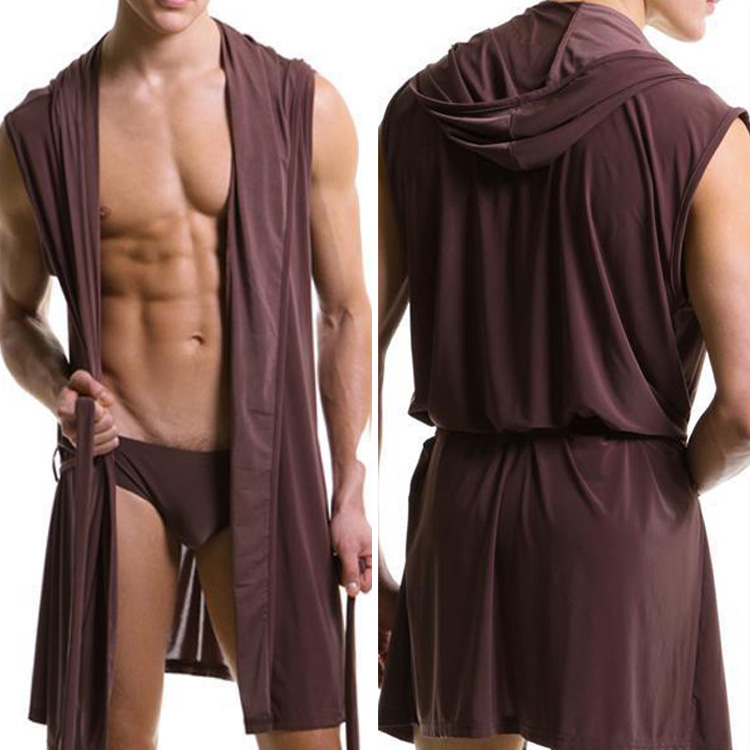 2020 Hot Sales Men Bathrobe Bath Robe Male Robe Clothing Sleepwear Pajamas Sexy Fashion Nightgown Without Briefs Asian