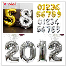 Ballons avec chiffres en aluminium or et argent, 16 32 pouces, à Air, à hélium, pour décoration d'anniversaire et de mariage, fournitures de fête