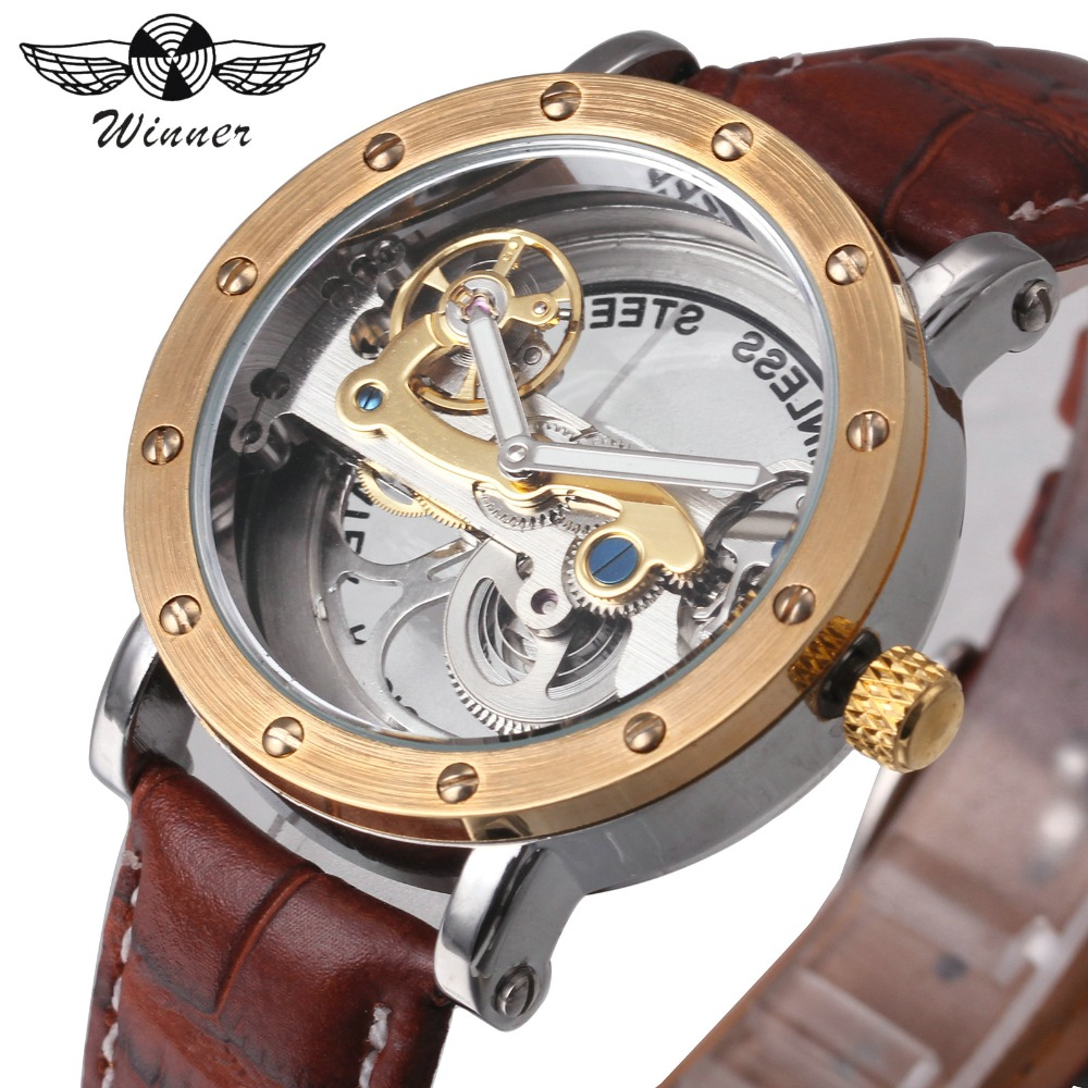 WINNER Watch Men Top Brand Luxury Golden Bridge Auto Mechanical Watches 3D Bolt Design Brown Leather Strap Classic Wristwatch winner watch fashion black leather strap skeleton luxury design clock men watches top luxury mechanical wristwatch gift