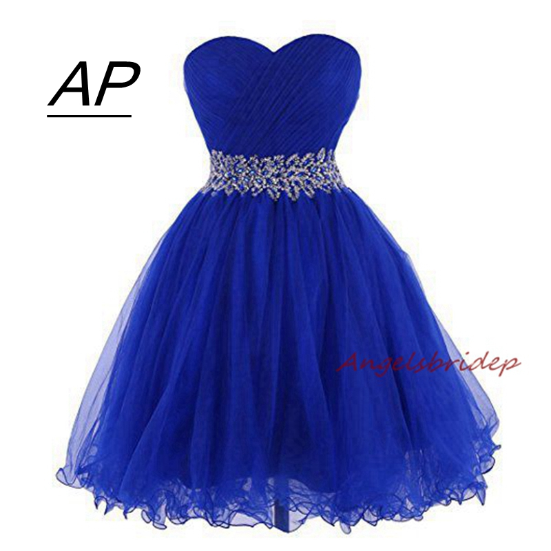 ANGELSBRIDEP Sweetheart Short Mini Homecoming Dress For Graduation Sweetheart Tulle Brading Waist Special Occasion Party Gown