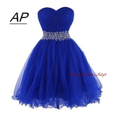 ANGELSBRIDEP Sweetheart Short/Mini Homecoming Dress For Graduation Sweetheart Tulle Brading Waist Special Occasion Party Gown
