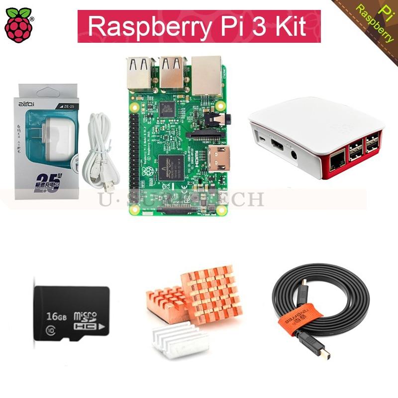 Малина Pi модель B доска 3 Пи3 комплект+блок питания 2,5 а(ЕС или США)+теплоотвод+ чехол+16 Гб TF карты