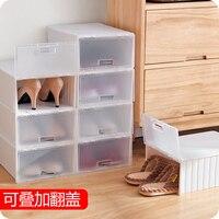 Transparent Flip Plastic Shoe Organizer Simple Shoe Cabinet Single Plastic Shoe Storage Box
