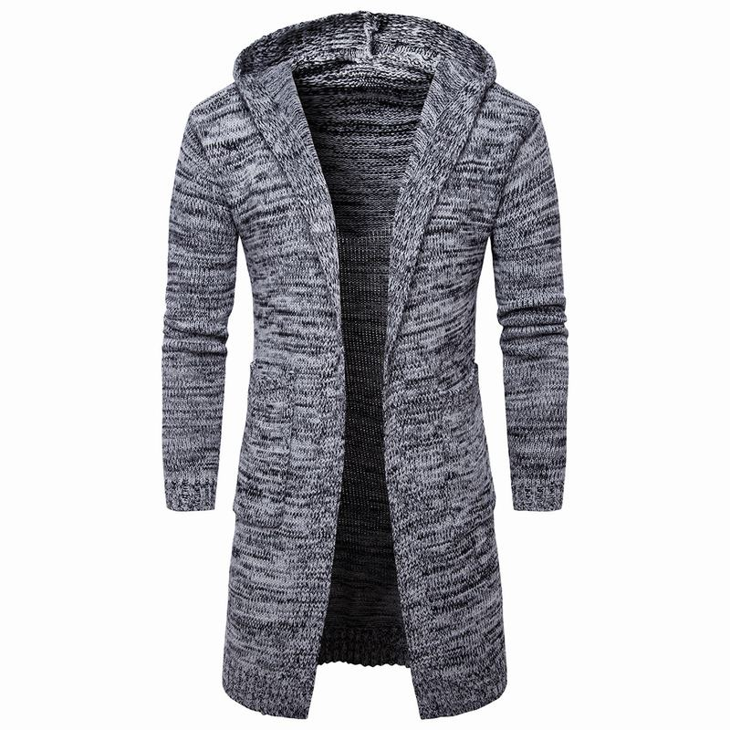 Men Long Style Cardigan Sweatercoat Long Sleeve Hooded Sweater Cardigan Coat Male Winter Sweater Knitted Sweaters Homme Tops