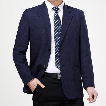 Blue business mens suit Middle-aged jacket men casual blazer masculino slim coats man casaco jaqueta masculina spring autumn