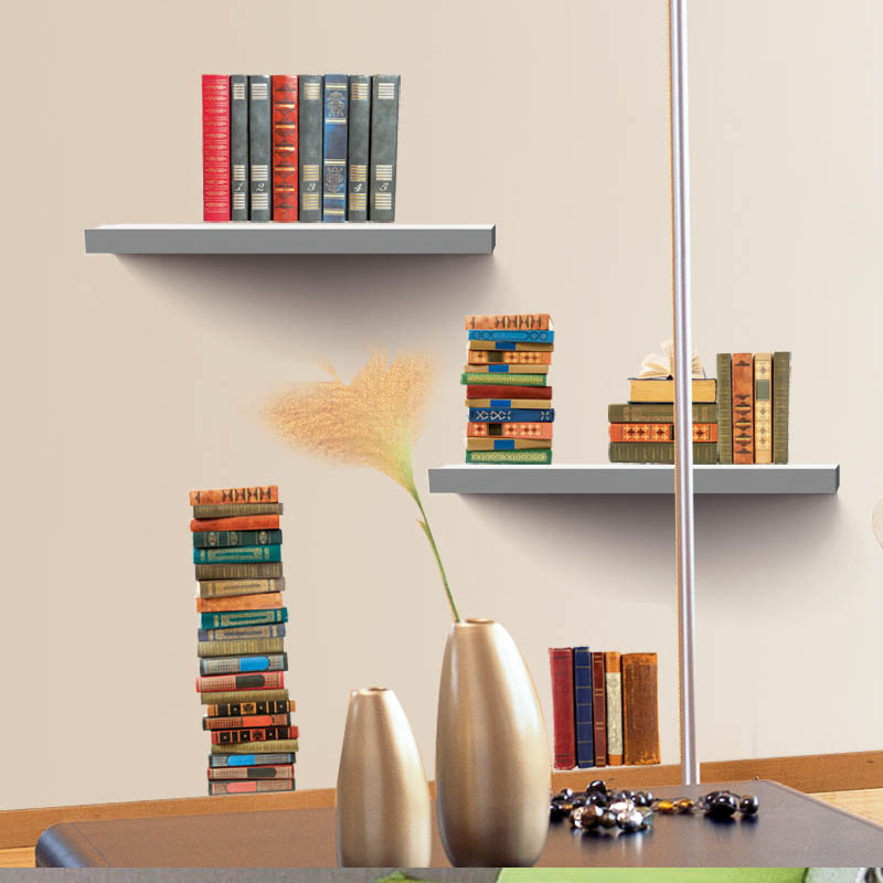 3D Bookshelf Wall Sticker Books View Poster Removable Decals Home Decor Window Art Stickers For Living Room In From