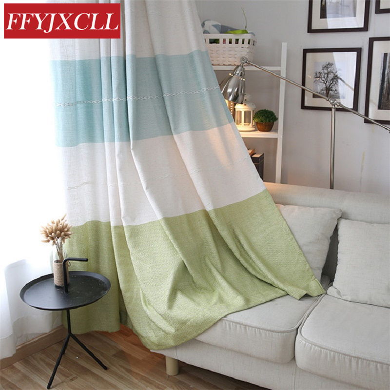 High Quality European Style Window Curtains Stripes For Living