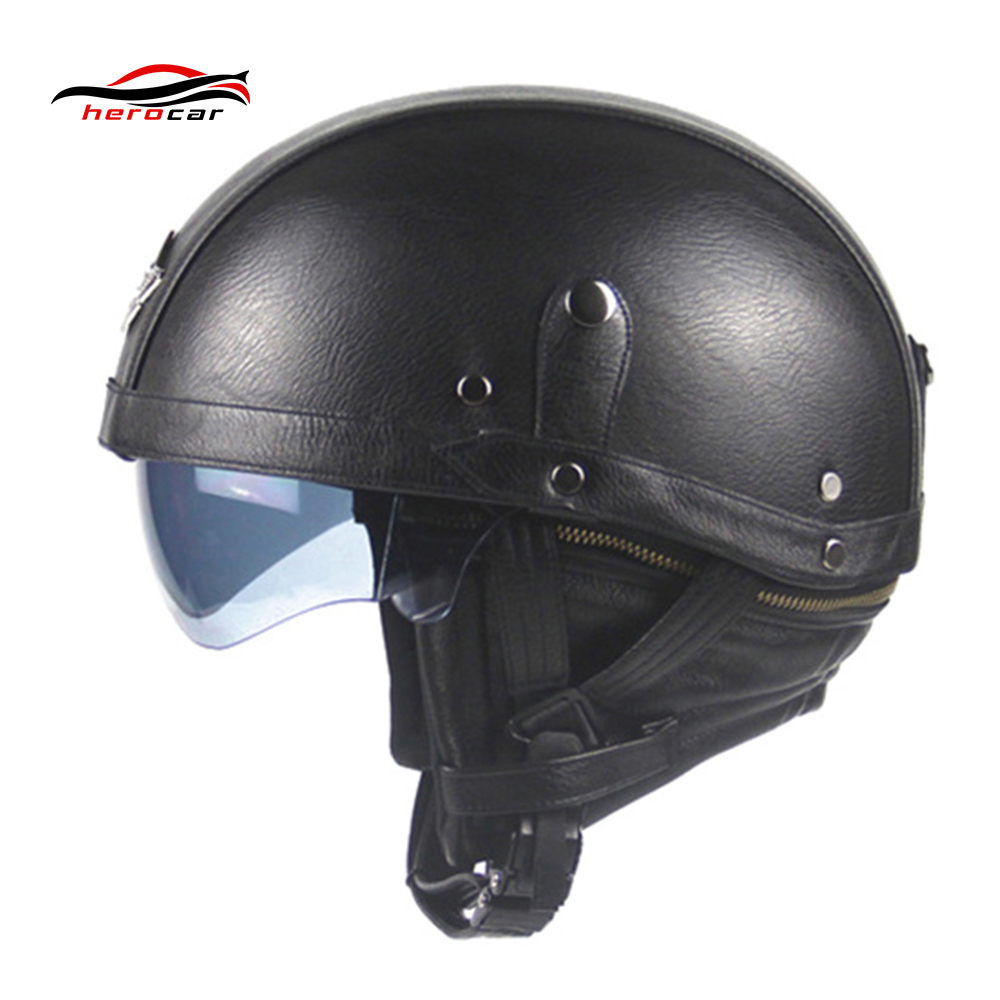New Synthetic Leather Motorcycle Helmet Retro Vintage Half Helmet Cruiser Scooter Touring Casco Moto Helmet DOT Sun Shield Lens