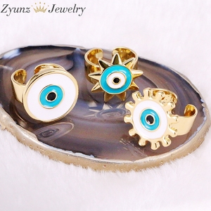 Image 4 - 10PCS, NEW Mix Enamel Eye Ring, Gems Rings, Women Jewelry Ring, Blue / Black/Red Enamel Ring, Adjustable
