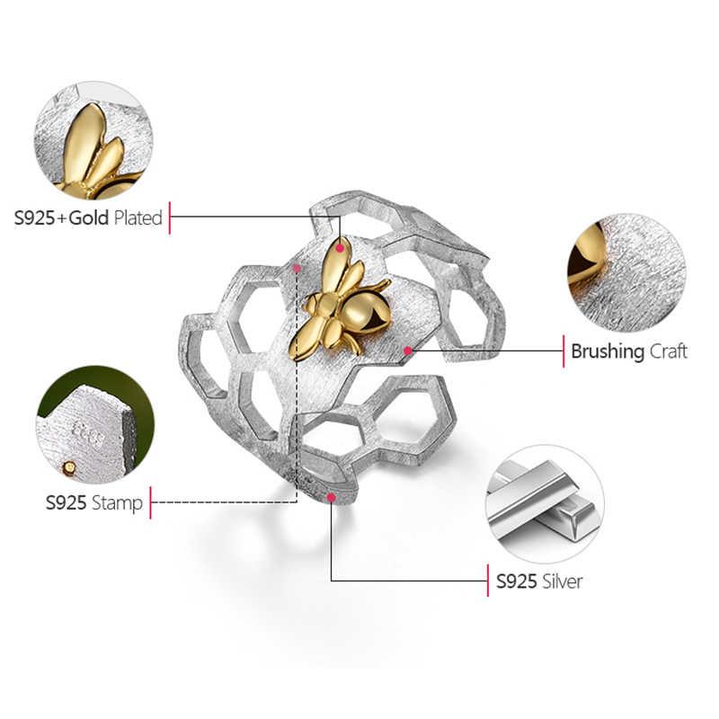 Lotus สนุก Moment จริง 925 เงินสเตอร์ลิงผึ้งน่ารักแหวนแฟชั่นเครื่องประดับ Creative Honeycomb แหวนเปิดบ้านแหวนผู้หญิง