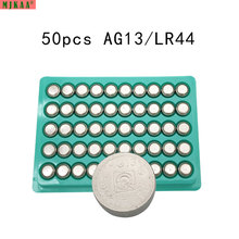 Hot Sale 50Pcs LR44 357A A76 303 AG13 SR44SW SP76 L1154 RW82 RW42 1.5V Battery LR44 Alkaline Button Cell Battery