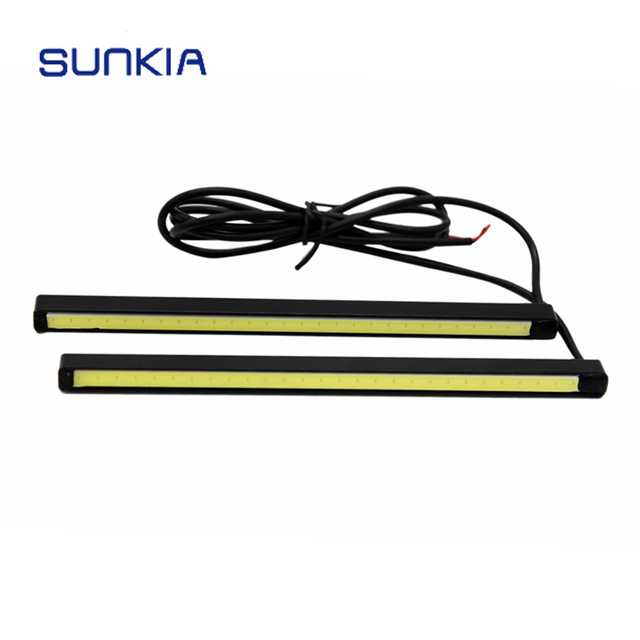 SUNKIA 2Pcs/Pair Super White 15CM COB Daytime Running Light Waterproof DRL Day Light For Mazda VW Ford Nissan Suzuki
