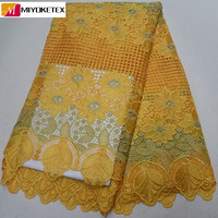 Wholesale yellow lace fabric with stones embroidery cord lace fabric hot selling french guipure laces fabric for dress PSA503 1