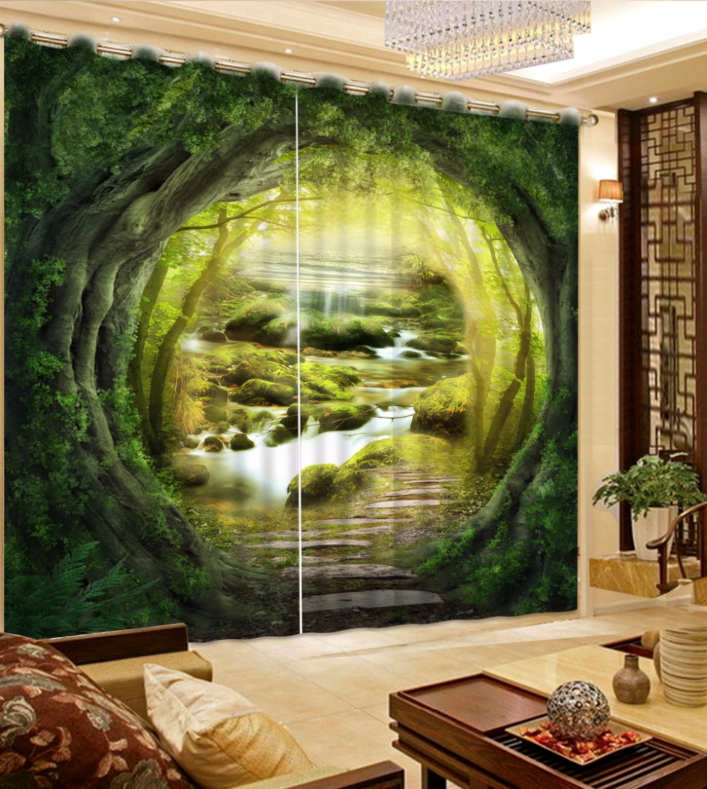 3D Extend the space Window Curtain fantasy cave Curtains For Bedroom Children Blackout Curtain For Hotel Home Decor