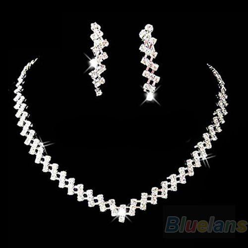 Earring-Set Necklace Prom-Jewelry Crystal Rhinestone Diamante Wedding Bridal Sumptuous