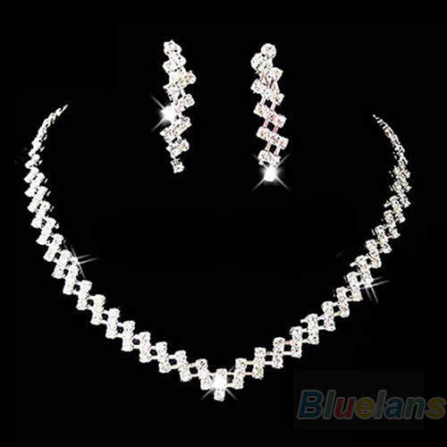 Sumptuous Bridal Wedding Prom Jewelry Crystal Rhinestone Diamante Necklace & Earring Set
