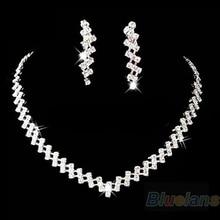 Jewelry Crystal Rhinestone Diamante Necklace & Earring Set