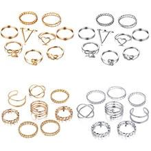 17 км золотые серебряные кольца набор для женщин Винтаж сердце лук твист палец кольцо костяшки женские модные ювелирные изделия Свадебные подарки