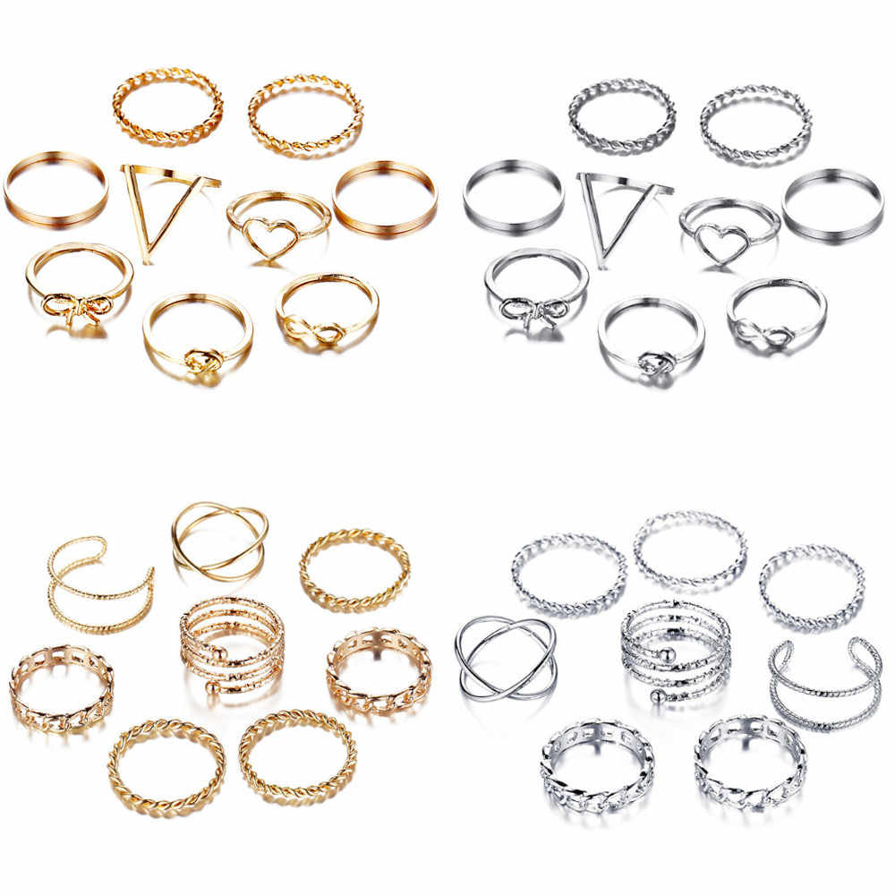 17 קילומטר זהב רסיס טבעות סט לנשים בציר לב קשת טוויסט אצבע טבעת 2019 Knuckle נשי תכשיטים חתונה מתנות