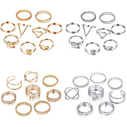 17km conjunto de anéis de prata de ouro, para mulheres, vintage, coração, laço, torção, anel de dedo, 2019, joias, moda feminina, casamento presentes