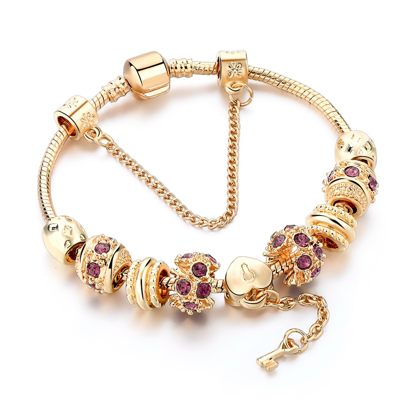 Fashion Purple Crystal Key Charm Bracelet For Women Gold European Diy Beads Bracelets & Bangles Pulseira SBR170014
