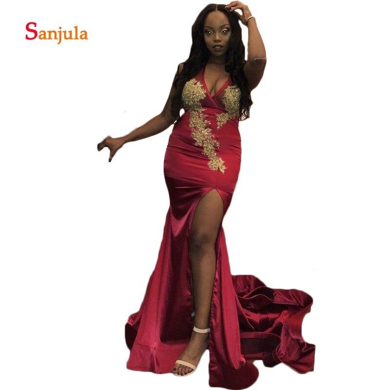 Backless Mermaid Formal   Prom     Dresses   V Neck Gold Appliques Beaded Black Girls Graduation   Dresses   Leg Slit Party   Dress   D661