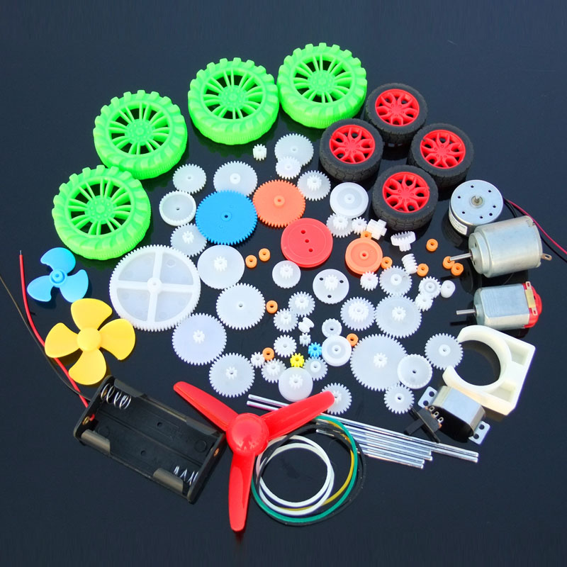 90pcs Mixed Plastic Gear 130 Motor Gearbox DIY Toy Car Craft Robot Model Four-wheel Driver Scientific Experiment Child Gift