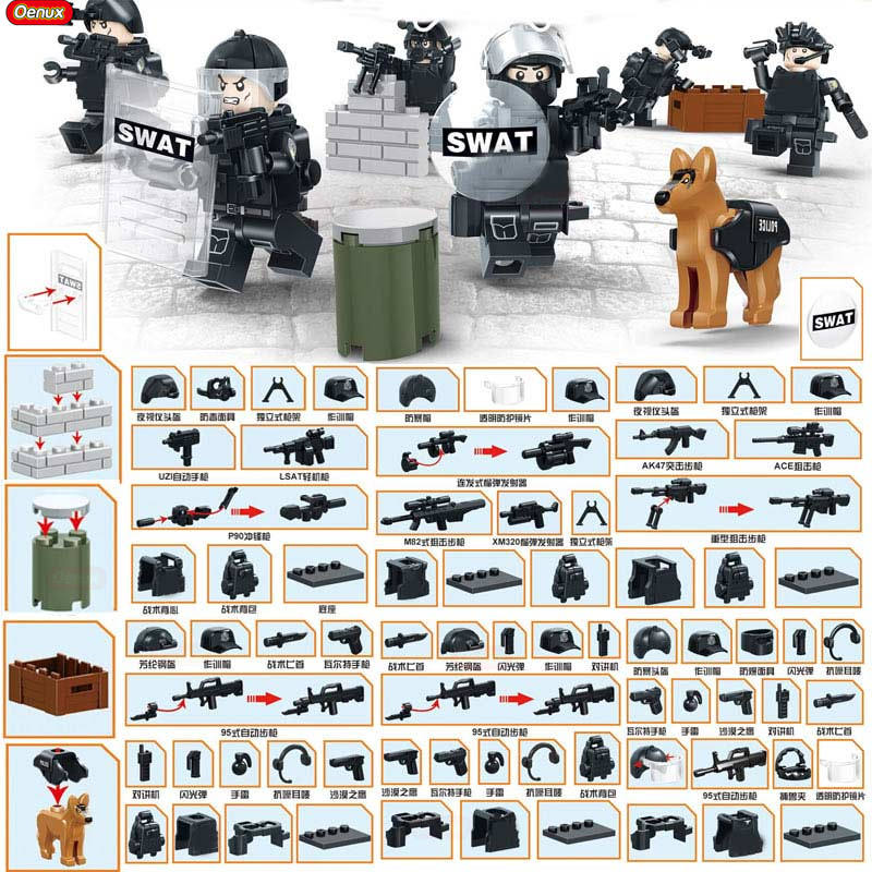Oenux New 6PCS Modern Military SWAT Policeman Building Block Set 2IN1 Military Figures With Weapons Model Brick MOC Toy For Kid new very cool action toy figures 6 pcs orcs with weapon ancient military solider model set diy assembly half orc model puppet