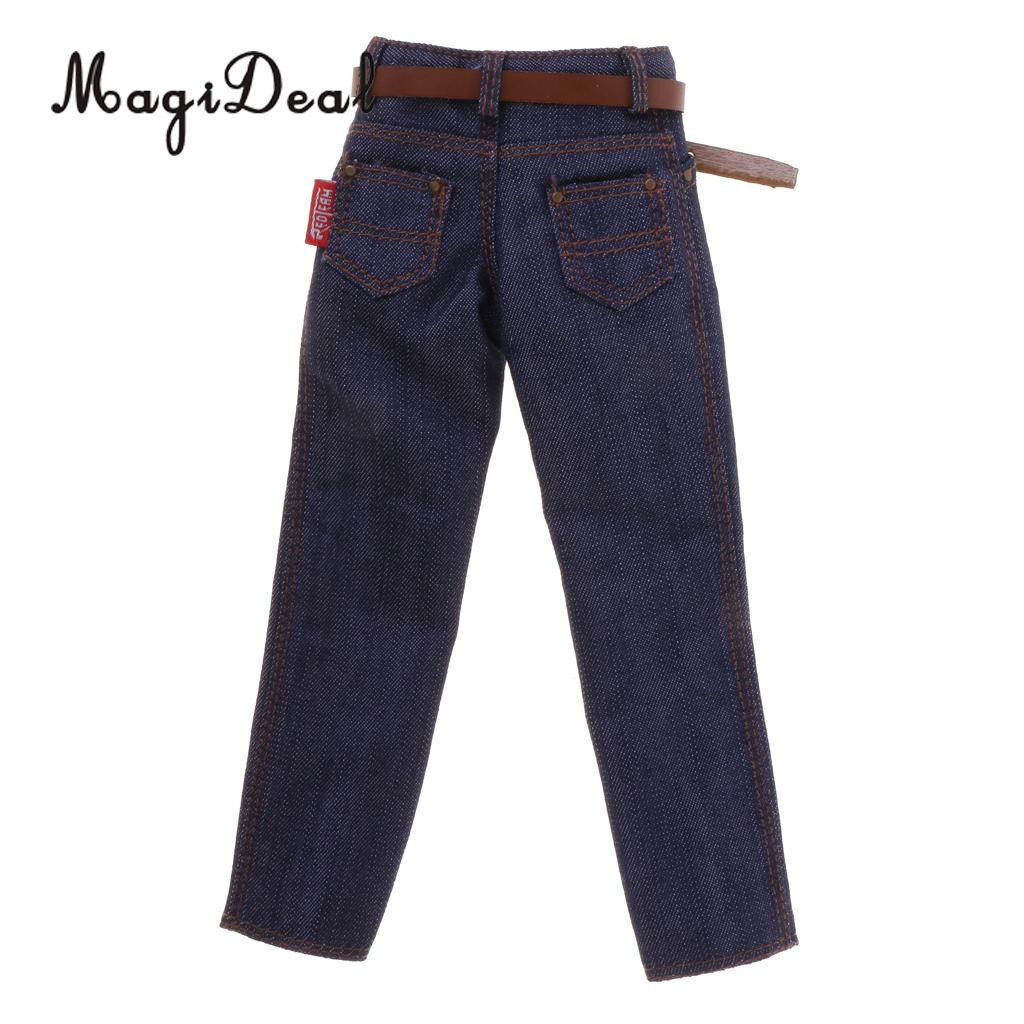 MagiDeal Top Quality 1Pc 1/6 Scale Male Classic Denim Jeans Pants with Belt for 12 Inch Action Figure Body Hot Toy Accessory