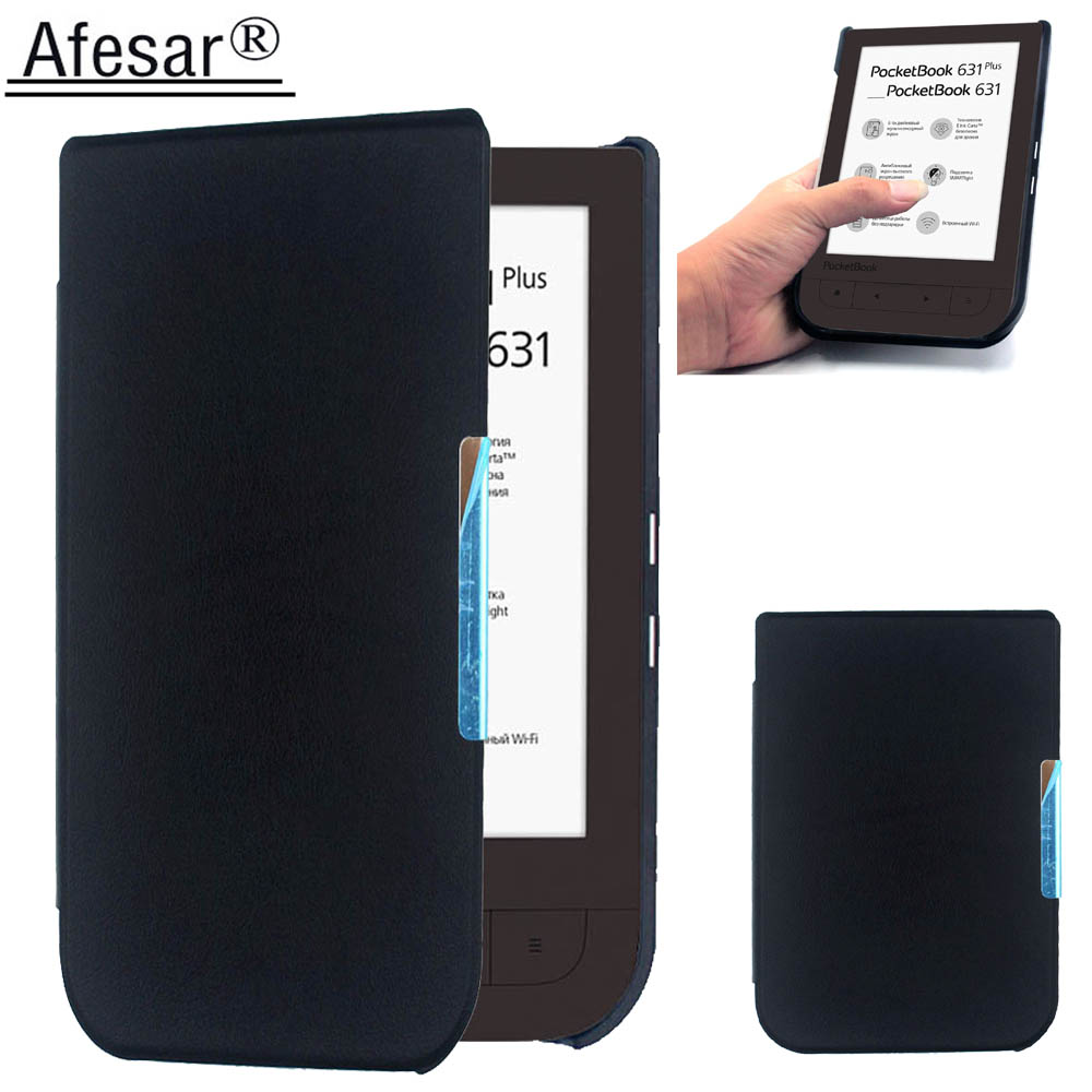Afesar For PocketBook 631 eReader 6 inch ultra slim book Cover leather Case magnetic clasp flip good fit PB 631 plus pouch mooncase view window leather side flip pouch ultra slim shell back чехол для htc one m8 black
