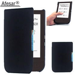 Afesar For PocketBook 631 eReader 6 inch ultra slim book Cover leather Case magnetic clasp flip good fit PB 631 plus pouch
