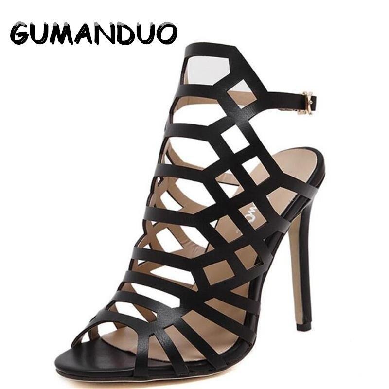 GUMANDUO Summer Sandals Women High Heels Roman Sandals hollow Sexy Cut Out  Brands Heels Party Stiletto Pumps Shoes Woman denim zipper hollow worn stiletto womens sandals