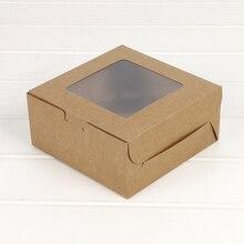 5 шт. коробка для кексов с окном, подарочная упаковка для свадьбы, дома, вечерние, 4 стакана, держатели для тортов, белая, коричневая, крафт-бумага, коробка на заказ