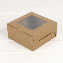 5pcs cupcake box with window Gift Packaging For Wedding Home Party 4 Cup Cake Holders White Brown kraft paper box Customized цена и фото